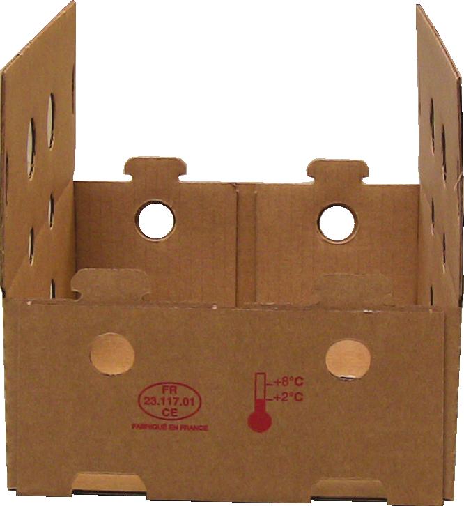 Kartonnen doos met gelijmde hoeken voor trayopzetmachine MIBOX