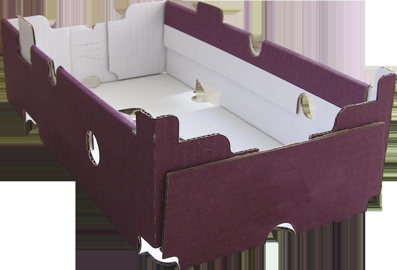 doos met stapelranden gevormd en gelijmd met dozenopzetmachine MIBOX