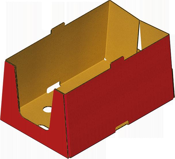 Caisse prêt à vendre en carton assemblée avec Formeuse Barquetteuse MIBOX